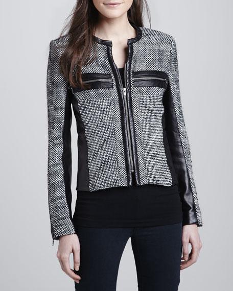Hayley Woven Leather-Trim Jacket