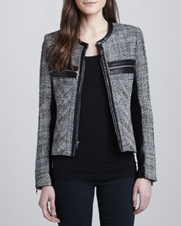 Parker Hayley Woven Leather-Trim Jacket