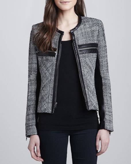 Hayley Woven Leather-Trim Jacket