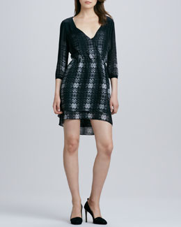Parker Quinn Printed 3/4-Sleeve Dress