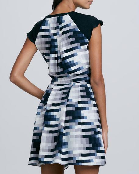 Veronica Printed Cap-Sleeve Dress