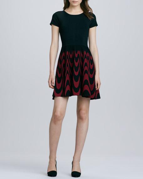 Delaney Fit-and-Flare Dress, Black