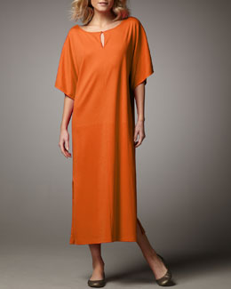 Joan Vass Keyhole-Detail Long Dolman Dress, Women's