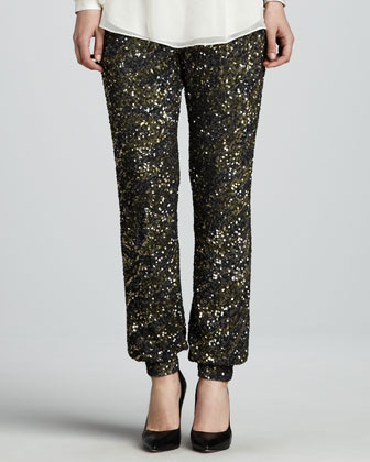 Sequined Cuffed Pants