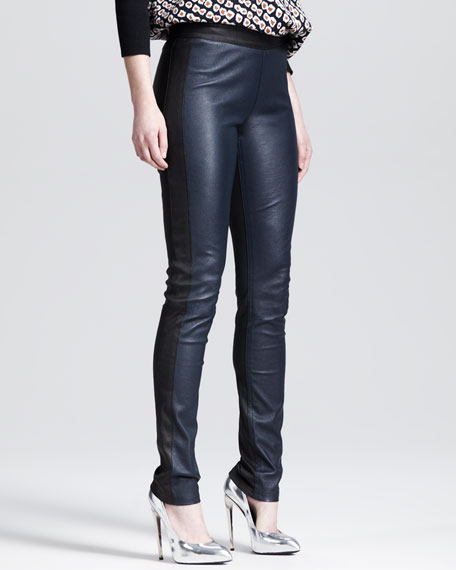 Two-Tone Stretch Leather Leggings