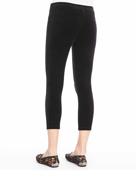Velour Cropped Leggings, Women's