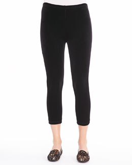 Joan Vass Velour Cropped Leggings, Women's
