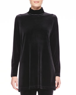 Joan Vass Velour Long-Sleeve Turtleneck Tunic, Petite