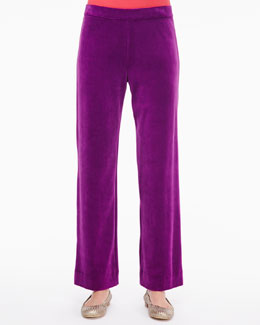 Joan Vass Solid Velour Pants, Petite