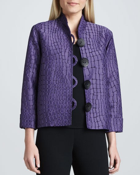 Jacquard Jacket with Mosaic Motif, Women's