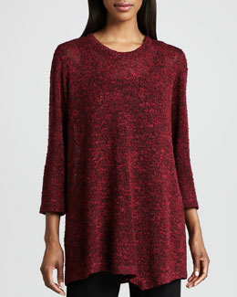 Caroline Rose Asymmetric Cozy Knit Tunic, Petite