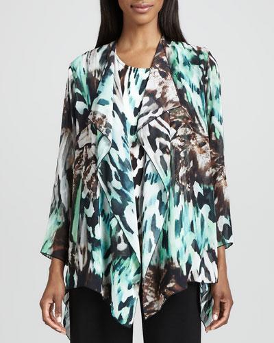 Caroline Rose Urban Animal-Print Draped Jacket, Petite