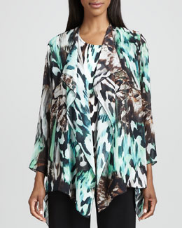 Caroline Rose Urban Animal-Print Draped Jacket, Women's