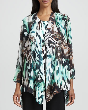 Urban Animal-Print Draped Jacket