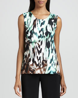Caroline Rose Urban Animal-Print Tank, Petite