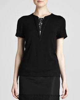 Carolina Herrera Short-Sleeve Knit Top