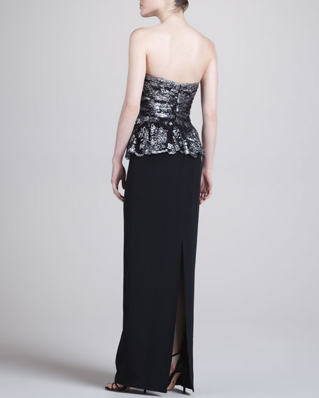 Lace-Bodice Column Gown, Black/Silver