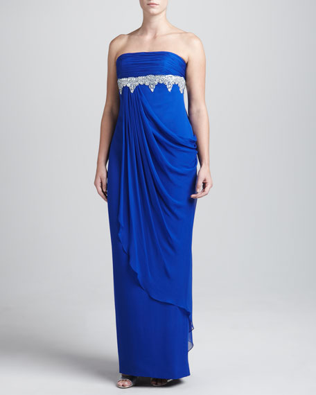 Strapless Chiffon Beaded Gown, Cobalt