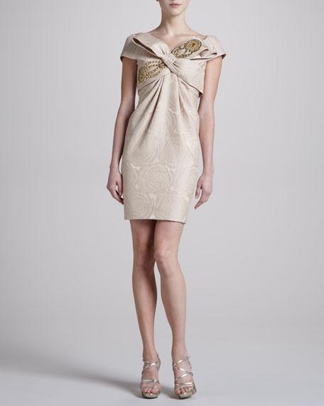 Brocade Off-the-Shoulder Cocktail Dress