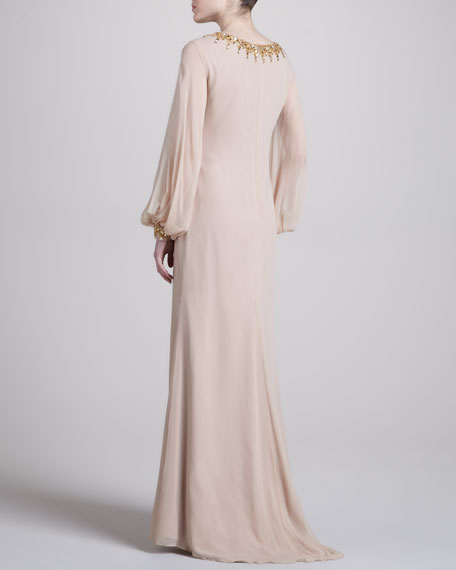 Full-Sleeve Column Gown