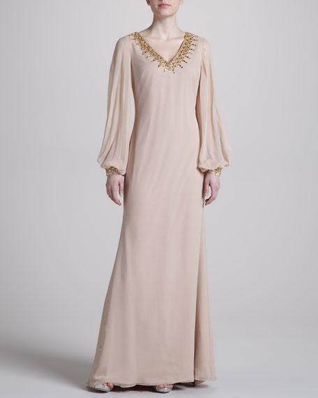 Full-Sleeve Column Gown