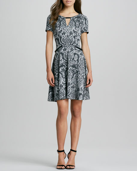 Printed Keyhole Flit-and-Flare Dress