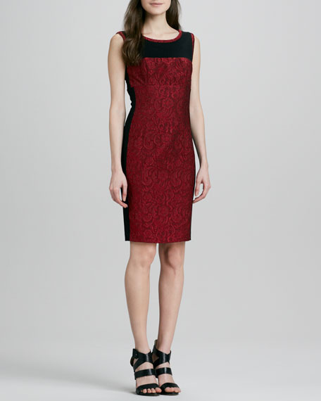Embroidered Lace Colorblock Sheath Dress