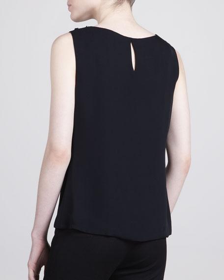 Sequin-Neck Silk Tank, Black