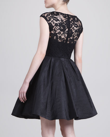 Lace Fit-and-Flare Cocktail Dress, Black