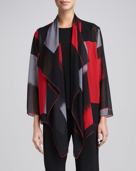 Block-Print Draped Jacket