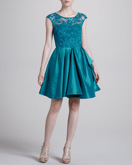 Lace Fit-and-Flare Cocktail Dress, Teal