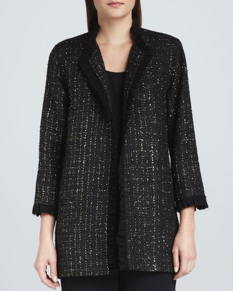 Golden Tweed Ruffle-Trim Jacket, Women's