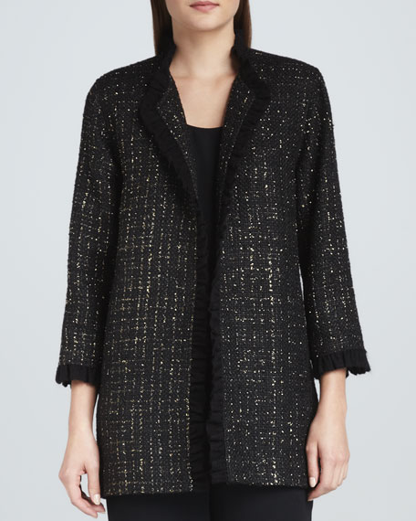 Golden Tweed Ruffle-Trim Jacket
