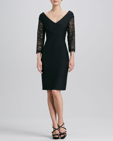 V-Neck Lace-Sleeve Cocktail Dress