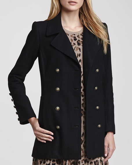 Double-Breasted Melton Coat