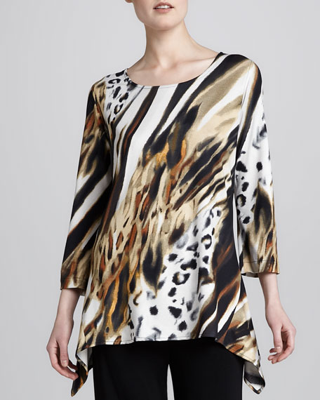 Bronze Animal-Print Tunic, Petite