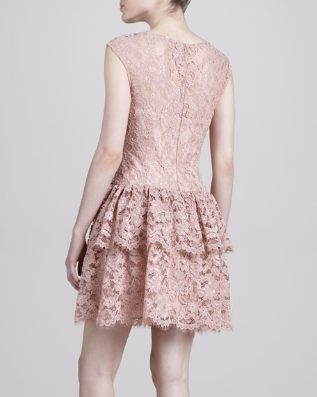 Cap-Sleeve Lace Cocktail Dress