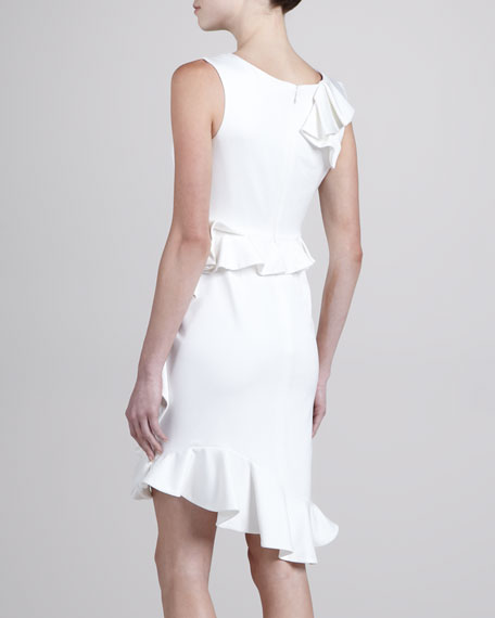 Ruffled Crepe Cocktail Dress
