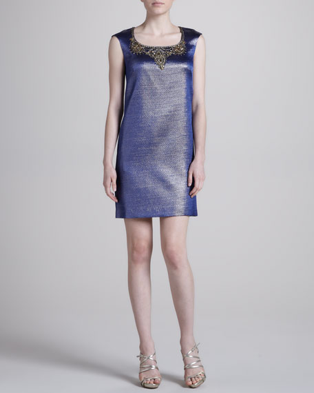 Embroidered-Neck Cocktail Dress, Navy