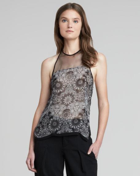 Sheer/Floral-Print Top