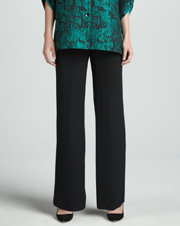 Caroline Rose Wide-Leg Silk Crepe Pants