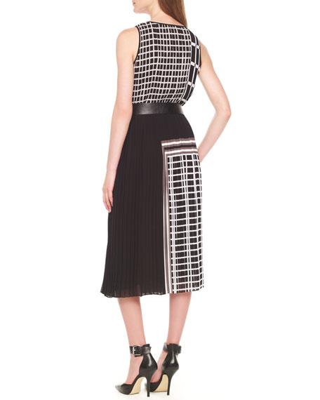 Mixed-Print Pleated Dress