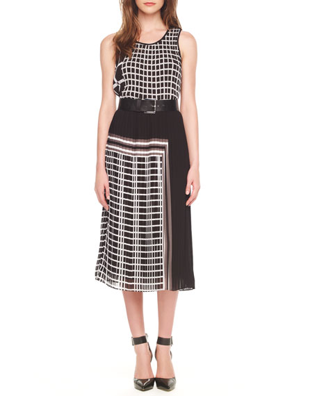 Mixed-Print Pleated Dress