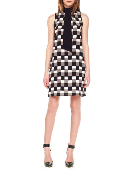 Tie-Neck Printed Dress