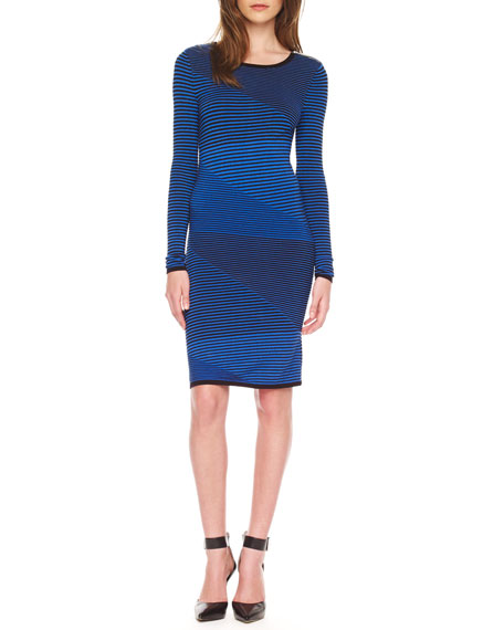 Mix-Stripe Fitted Dress