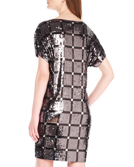 Sequined Grid Dress