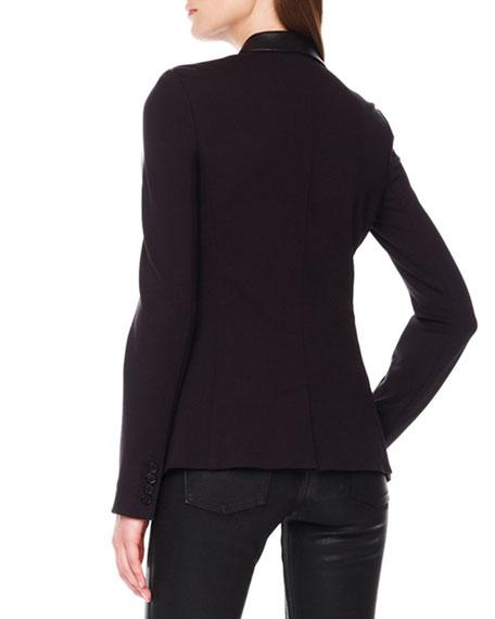 Ponte/Leather Blazer