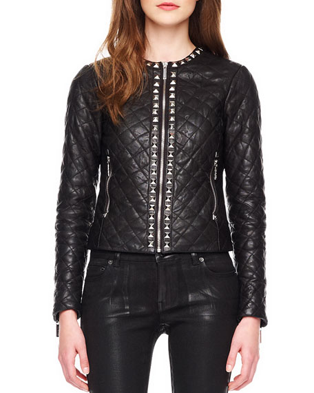 Stud-Trim Quilted Leather Jacket