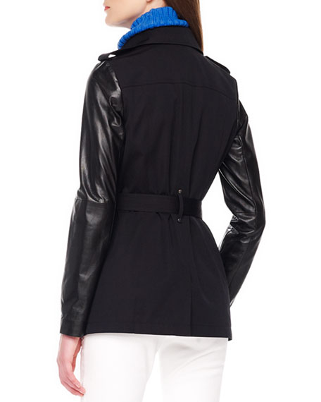 Leather-Sleeve Short Trench