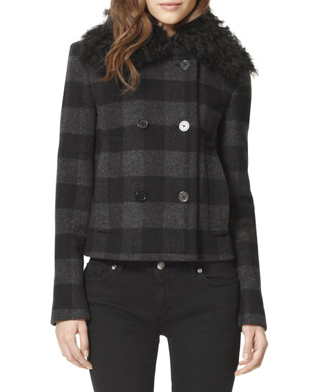 Shearling-Collar Pea Coat